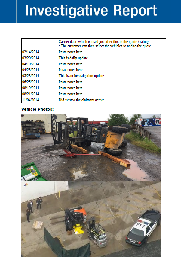 Investigation Report - Include scene and surveillance photos easily